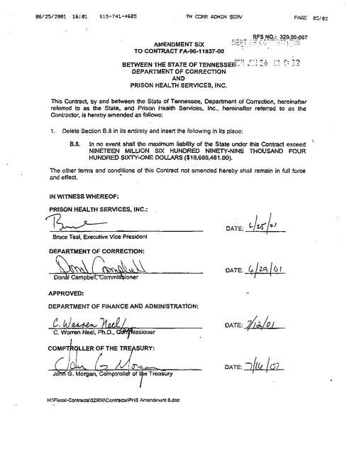 Amendment Six to Contract Between Tndoc and Prison Health Services ...
