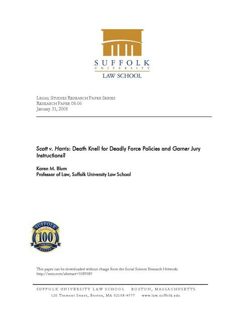 Scott V Harris Death Knell For Deadly Force Policies And Garner