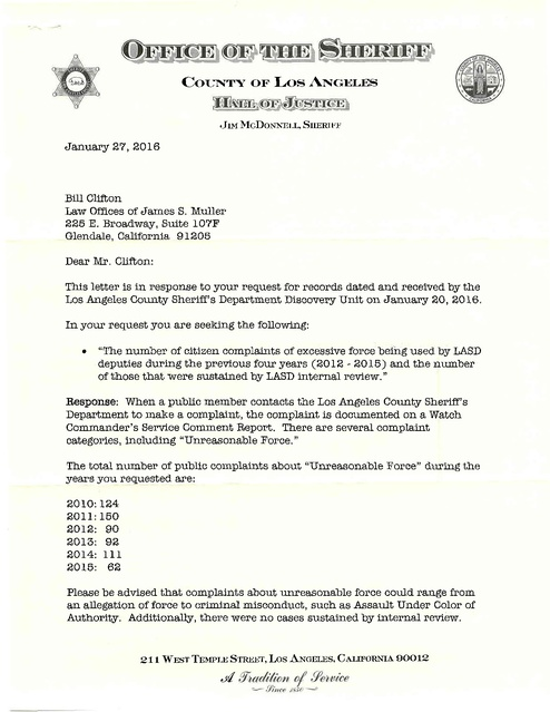 Letter Response To Citizen Complaints Of Excessive Force Lasd