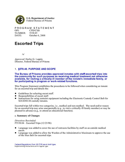 Bop Policy Escorted Trips P5538 05 Prison Legal News