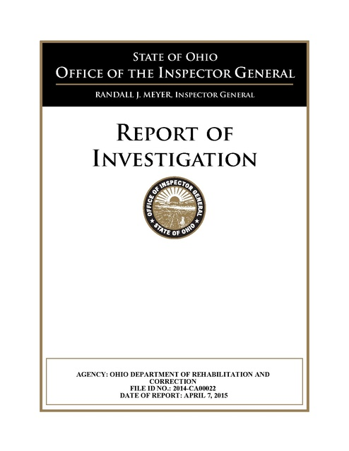 Report of Investigation - OH DRC, OH OIG, 2015 | Prison
