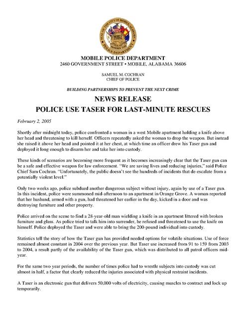 Taser Mobile Al Pr Lives Saved 2005 | Prison Legal News