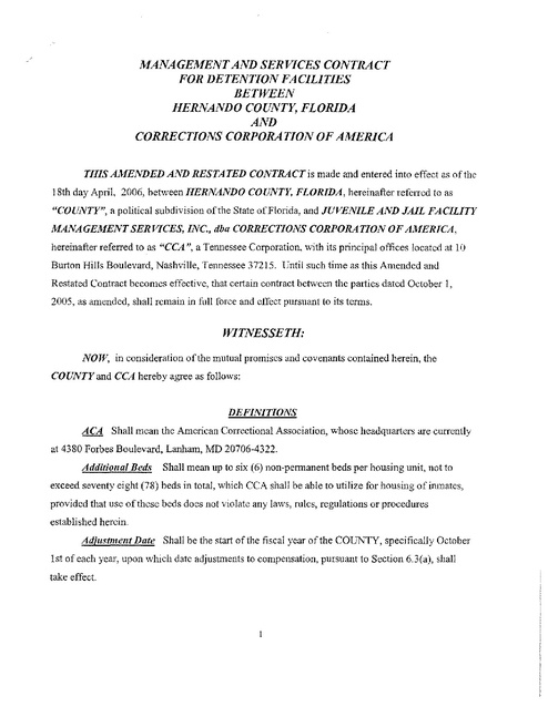 Cca Hernando County Fl Jail Contract 2006 | Prison Legal News