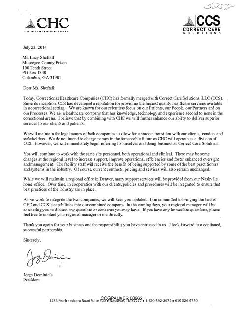 CHC & CCS Merger Letter to Muscogee Co Prison GA, CHC, 2014 | Prison