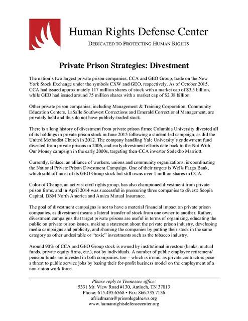 Hrdc Private Prison Fact Sheet Federal Legislation 2015 Prison