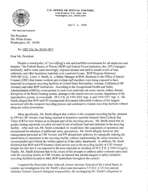Us Osc Letter to President Bush Re Unicor Recycling Program