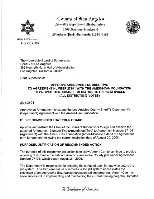 Baca Letter Re Approval Of Agreement Between Lasd And Amer I Can