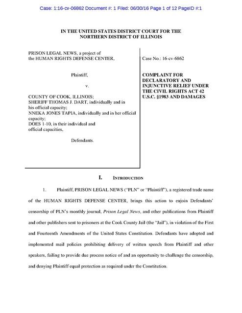 PLN v  Cook County, IL, Complaint, Censorship, 2016 | Prison
