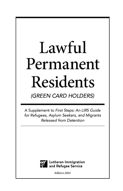 Lawful Permament Residents - Green Card Holders, A
