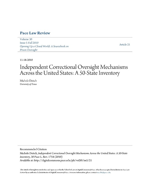 Pace Law Review Prison Oversight Sourcebook Article 21