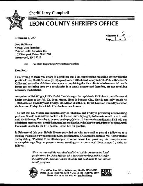 Leon County Fl, Phs Jail Report | Prison Legal News