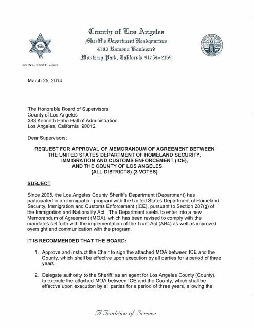 lasd letter to board re moa between dhs, ice and los angeles co