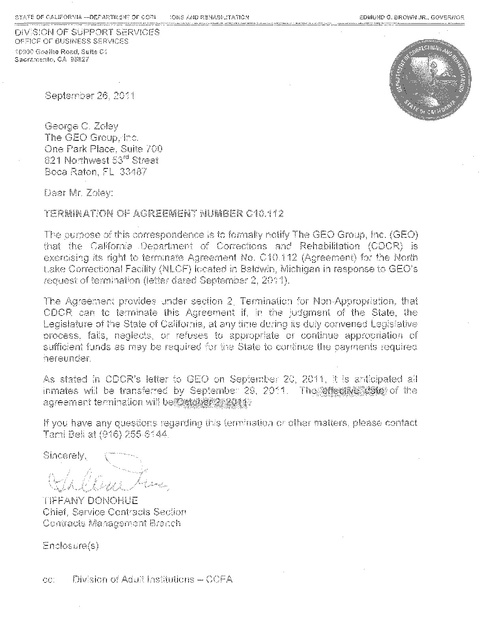 Cdcr Termination Letter and Contract Geo Group Sept 2011 – Termination of a Contract Letter