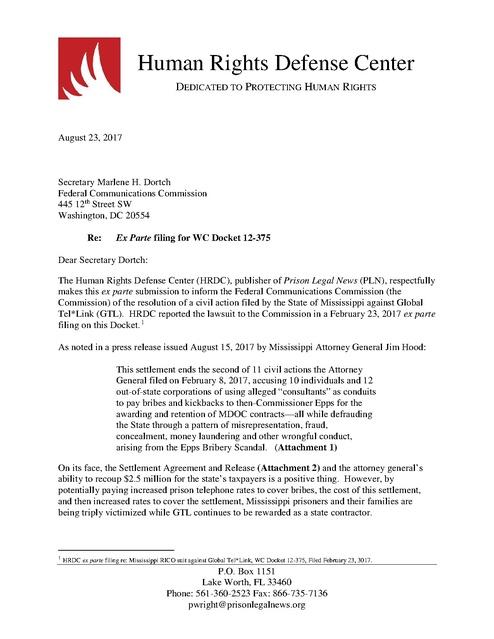 Hrdc Ex Parte Filing Re Gtl 25 Million Settlement With Mississippi