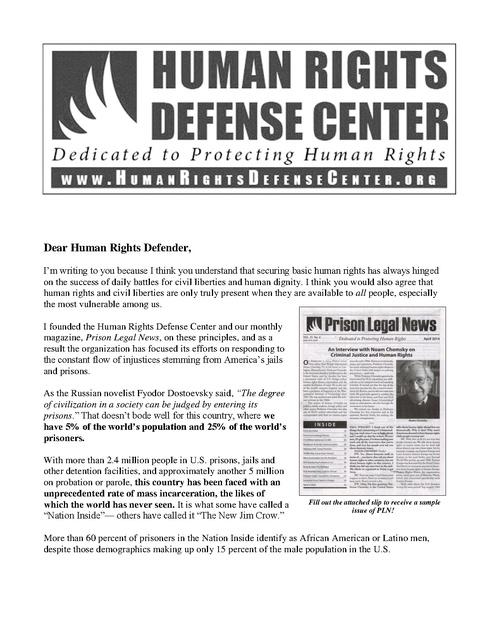 HRDC 2014 Fundraiser Letter Final   Prison Legal News