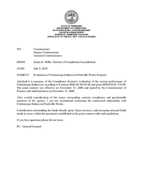 tn doc cover letter of evaluation of chattanooga endeavors and