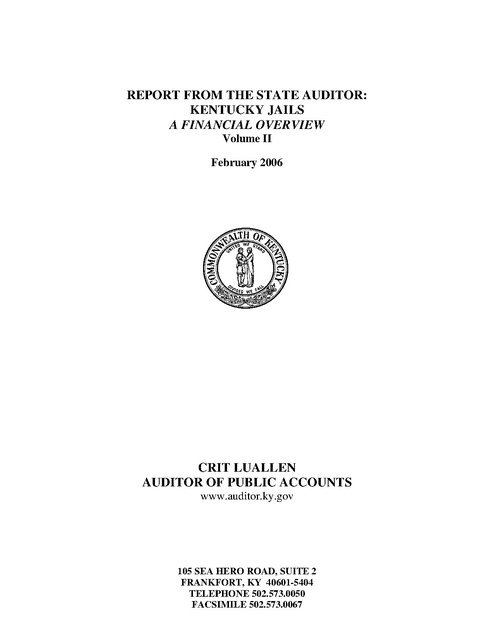 Ky State Auditor's Report, Vol 2, 2006 | Prison Legal News